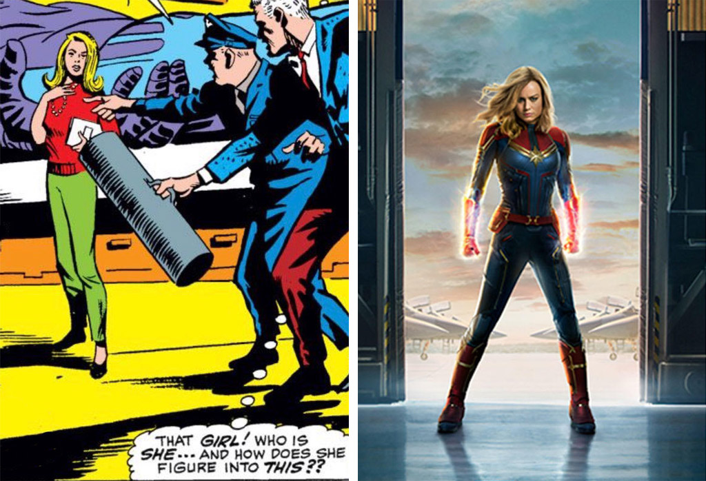 Carol Danvers in 1968 and 2019