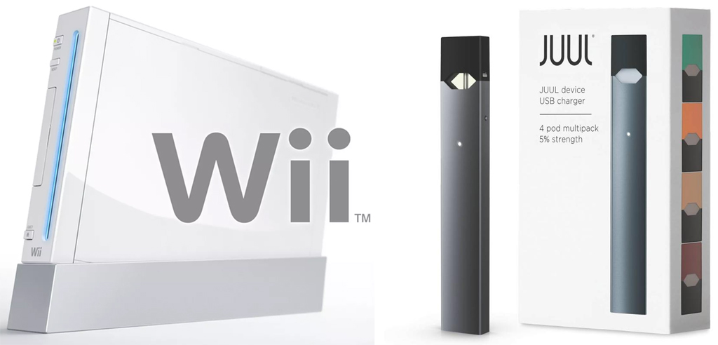 Wii and JUUL packages
