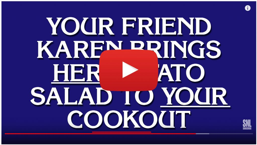 """Black Jeopardy"" screen: YOUR FRIEND KAREN BRINGS *HER* POTATO SALAD TO *YOUR* COOKOUT"