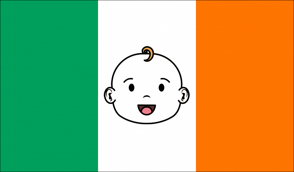Flag of Ireland with cartoon of smiling baby