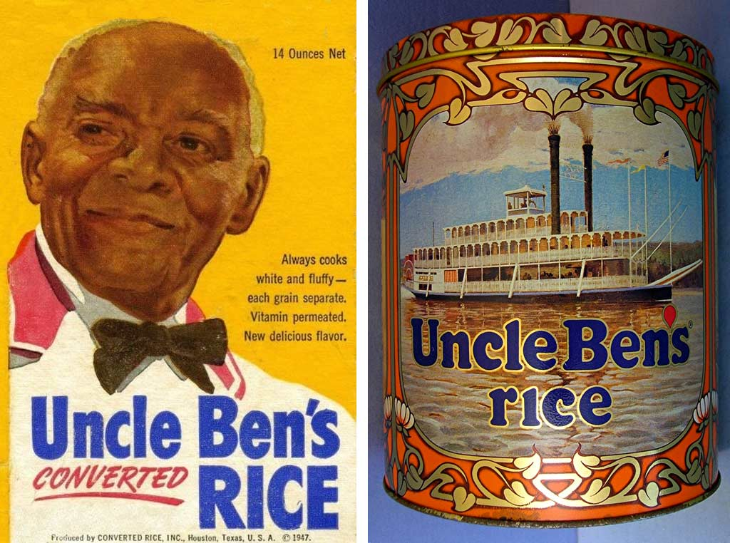 Vintage Uncle Ben's Rice ad showing a gray-haired African-American man, and tin showing a Mississippi riverboat