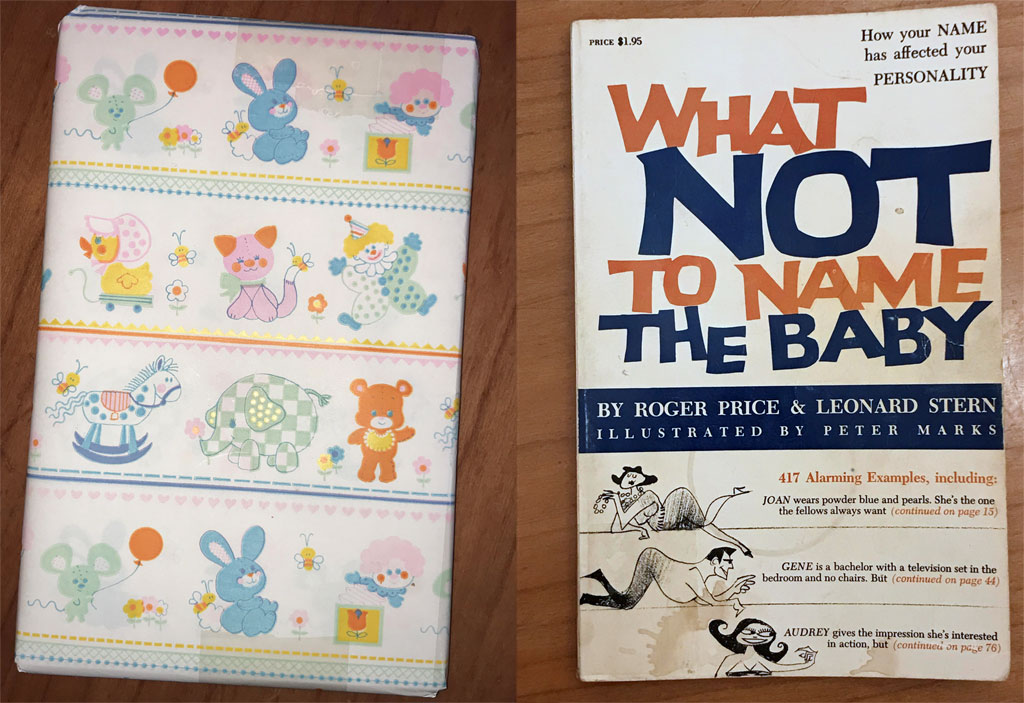 A book wrapped in cutesy baby wrapping paper, and unwrapped to reveal a '50s-style cover