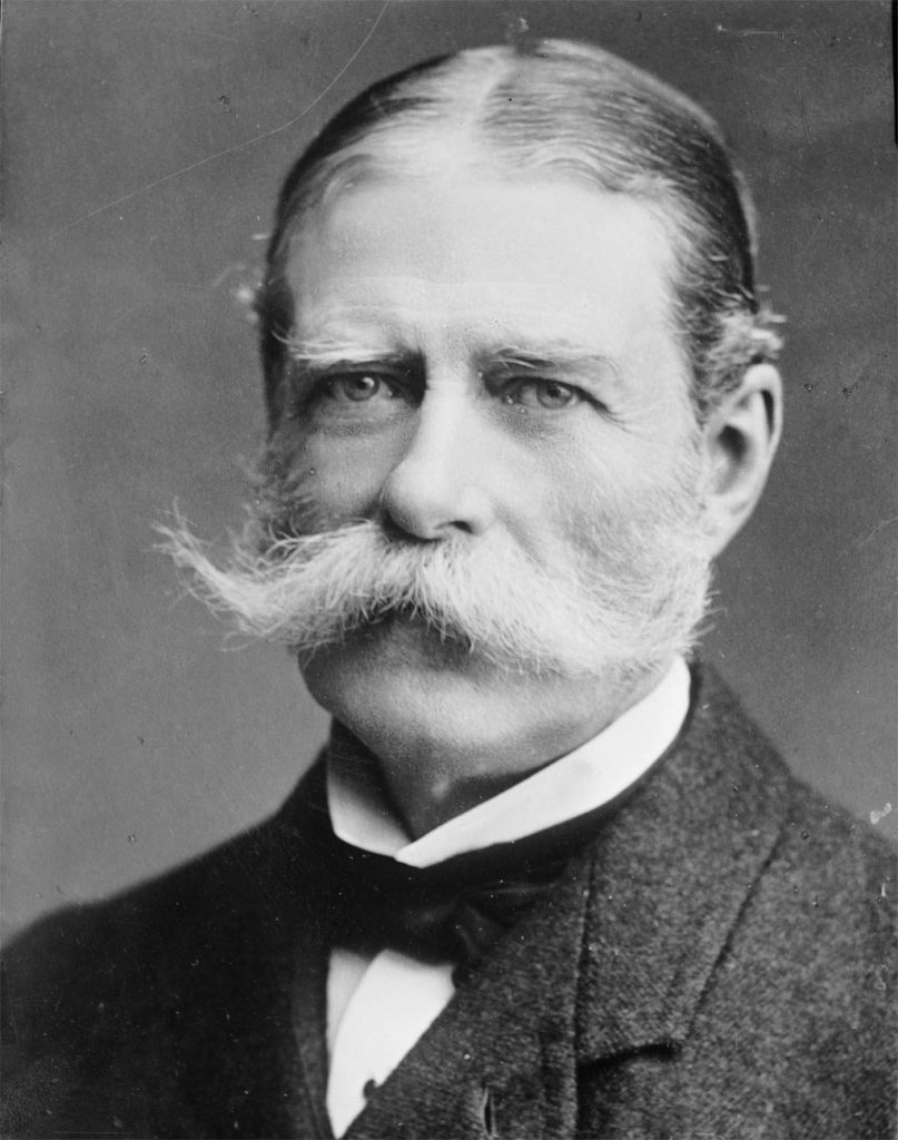 Vintage photo of man with huge white mustache