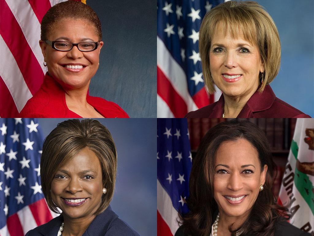Photos of Karen Bass, Michelle Lujan Grisham, Val Demings and Kamala Harris