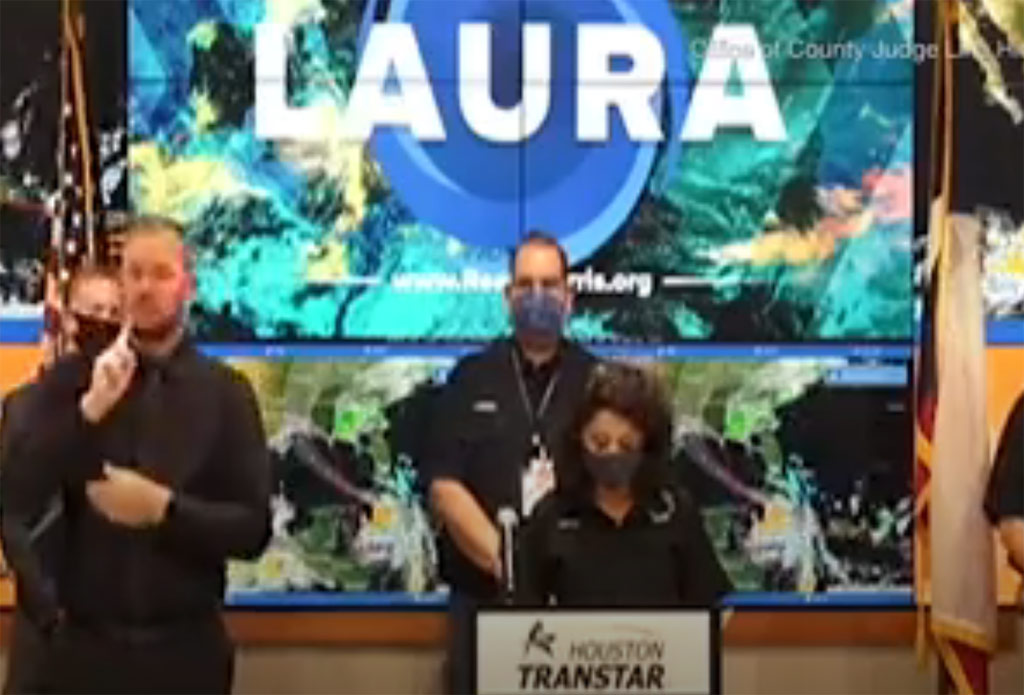 Photo of storm center with huge LAURA label