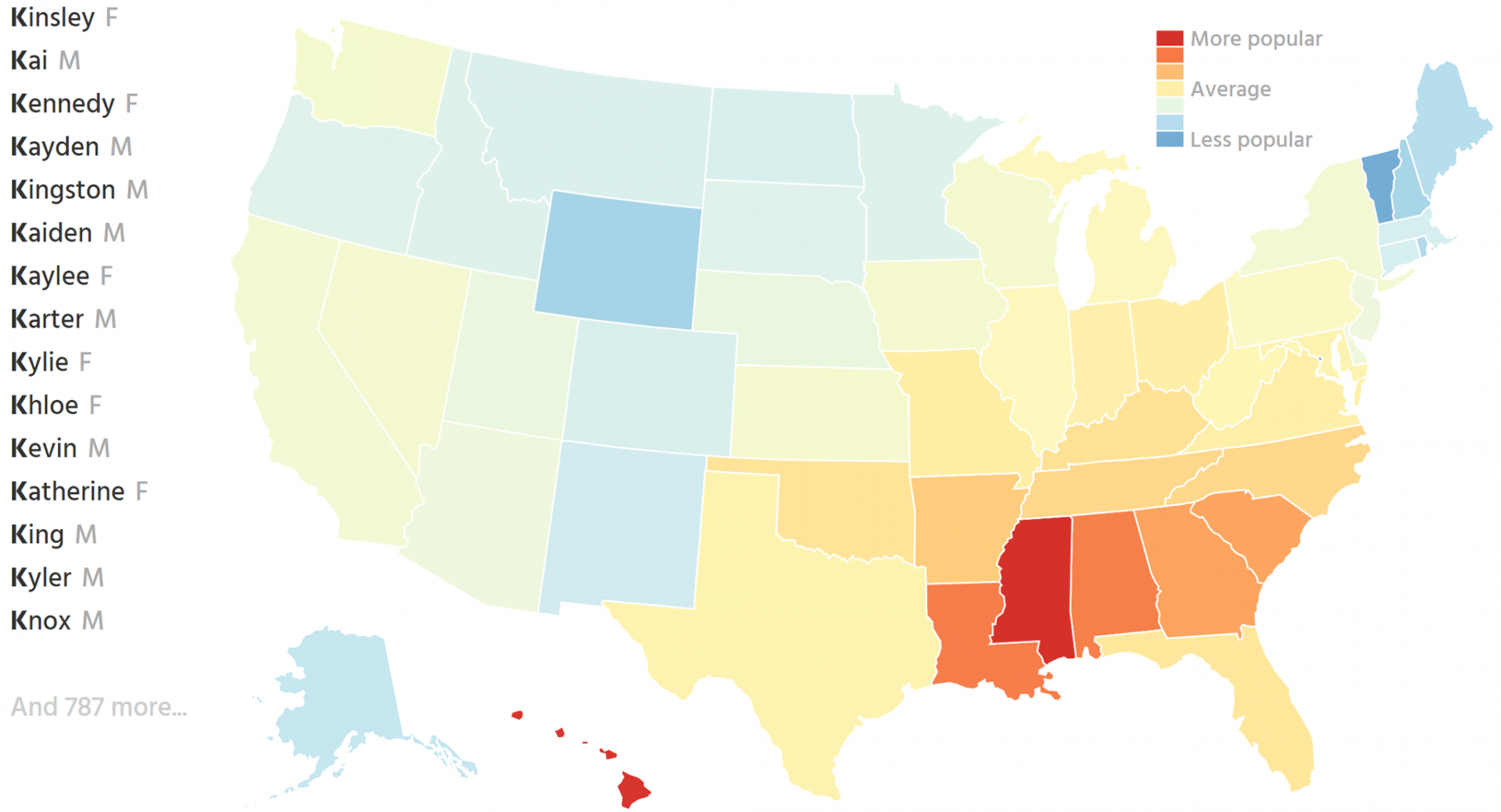 Map of US states shaded by the popularity of names starting with K
