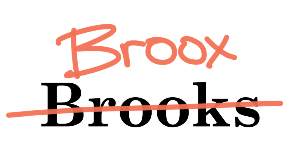 """Brooks"" replaced by ""Broox"""