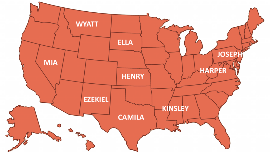 US map showing popular names