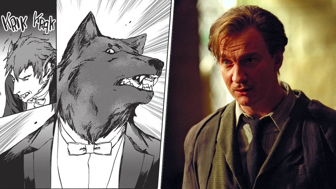 Images of werewolf characters from Harry Potter and the Parasol Protectorate