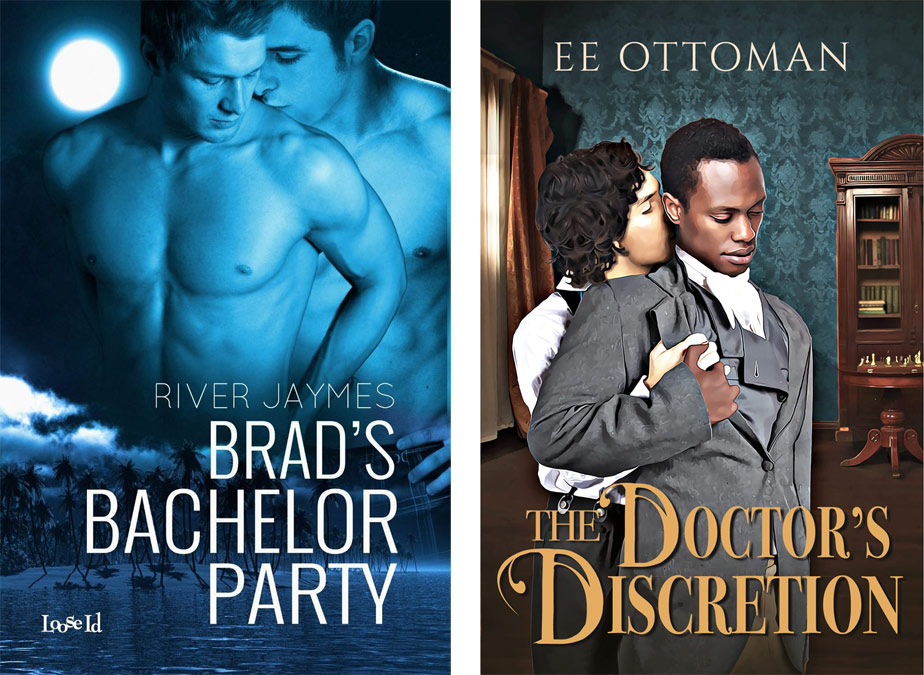 """Book covers: """"Brad's Bachelor Party"""" by River Jaymes and """"The Doctor's Discretion"""" by EE Ottoman"""